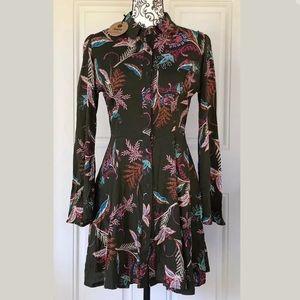 Nwt jaase boutique ruffle tunic dress shirt XS